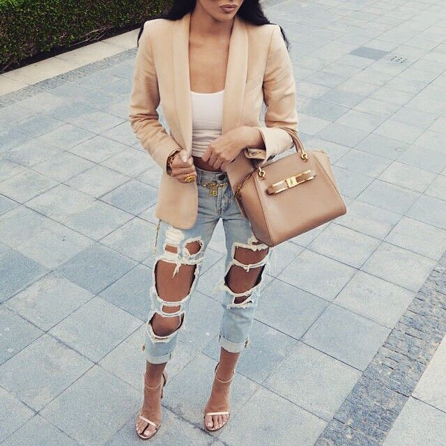 Spring Summer Fashion Outfit Crop Top Nude Blazer Ripped Denim Jeans Nude Strappy High Heel Sandals Style Trend Handbag Swag