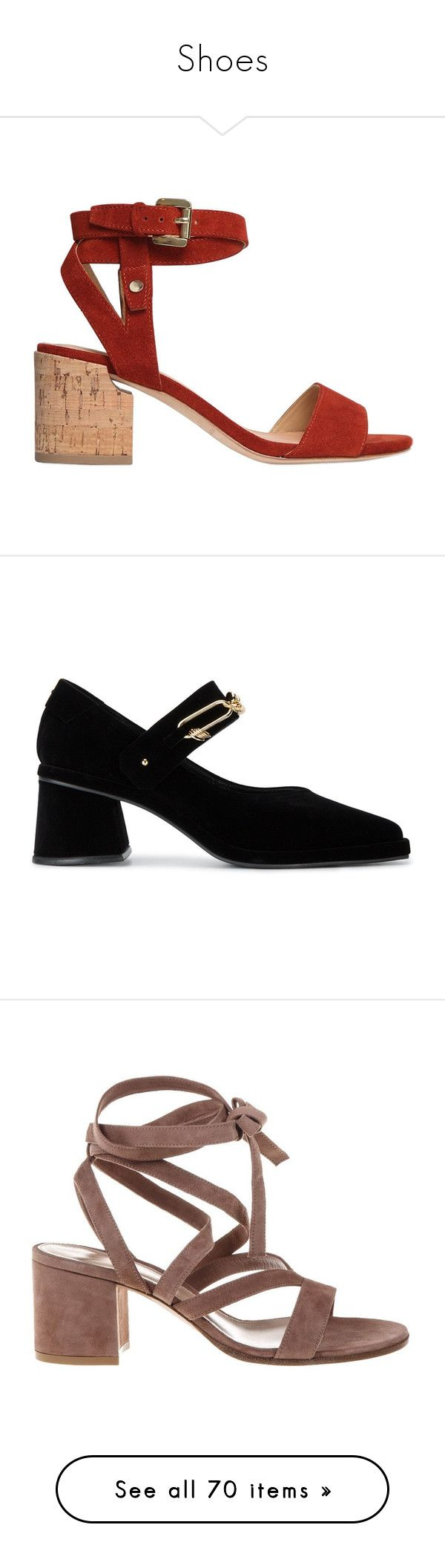 """Shoes"" by tinakriss ❤ liked on Polyvore featuring shoes, sandals, rust, mid-heel sandals, suede sandals, sigerson morrison shoes, sigerson morrison, sigerson morrison sandals, pumps and black"