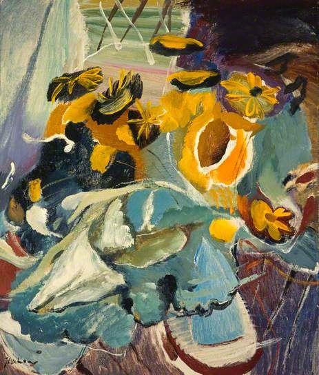 Sunflowers and Blue Jar Ivon Hitchens.