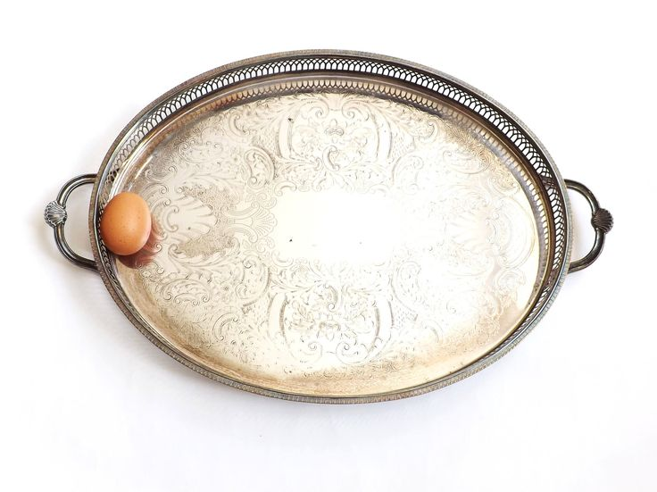 Large Silver Oval Gallery Serving Tray, Vintage Wedding Cake Stand Table Decor, Butlers Bar Tray, Drinks Serveware, Afternoon Tea Party by CuriosAnCollectibles on Etsy https://www.etsy.com/listing/216815767/large-silver-oval-gallery-serving-tray