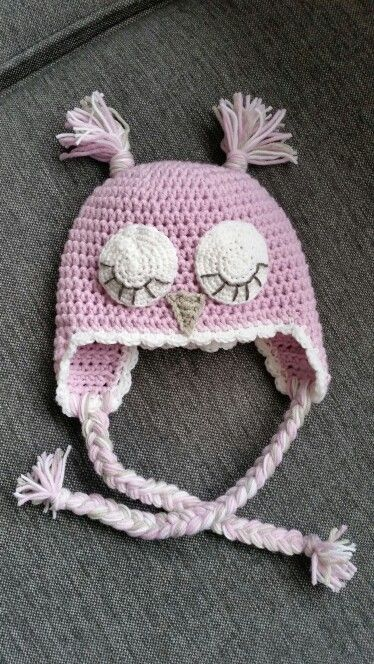Crochet, pink owlhat for my newborn♡