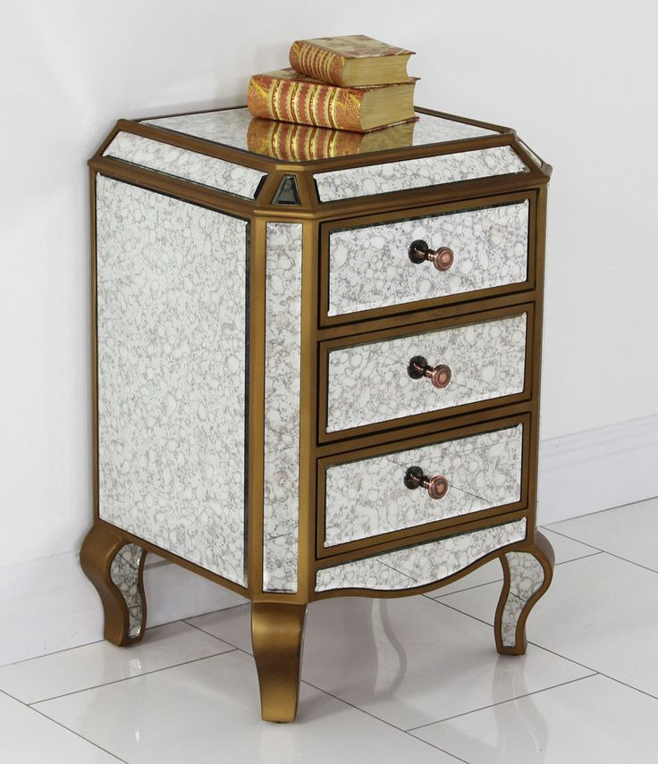 antique venetian mirrored 3 drawer bedside table mirrored romantic glass classic bedroom furniture bedside cabinets mirror antique