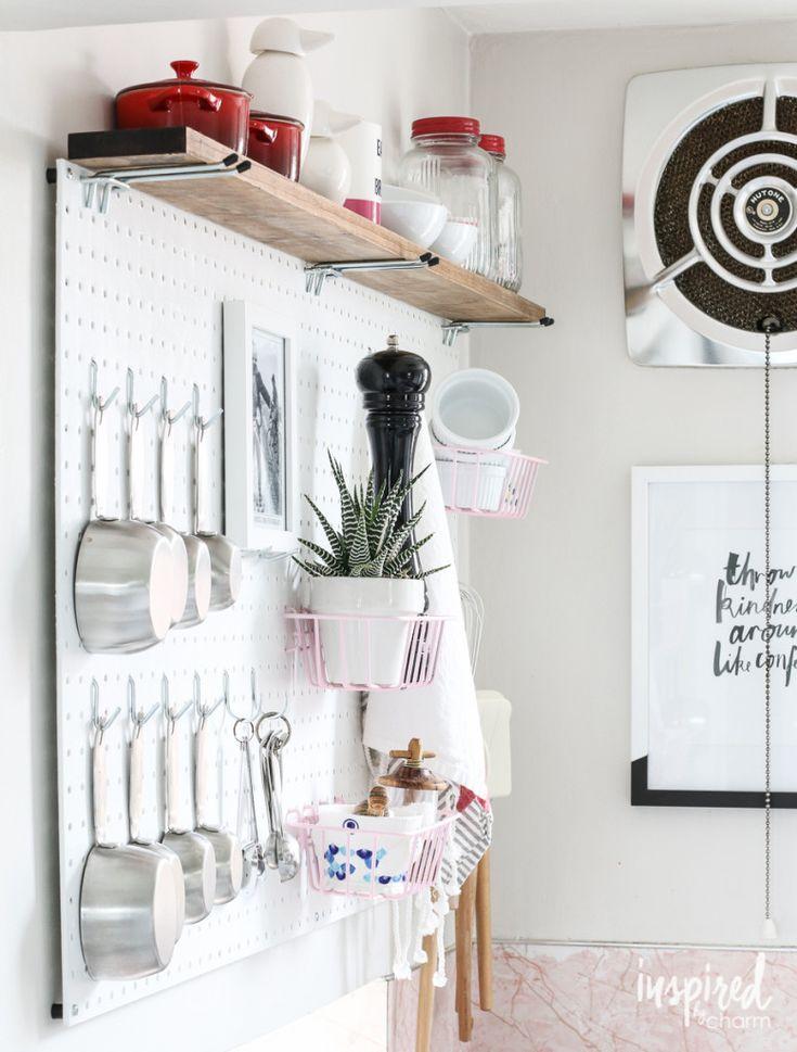 966 best storage organization ideas images on pinterest for Kitchen pegboard ideas