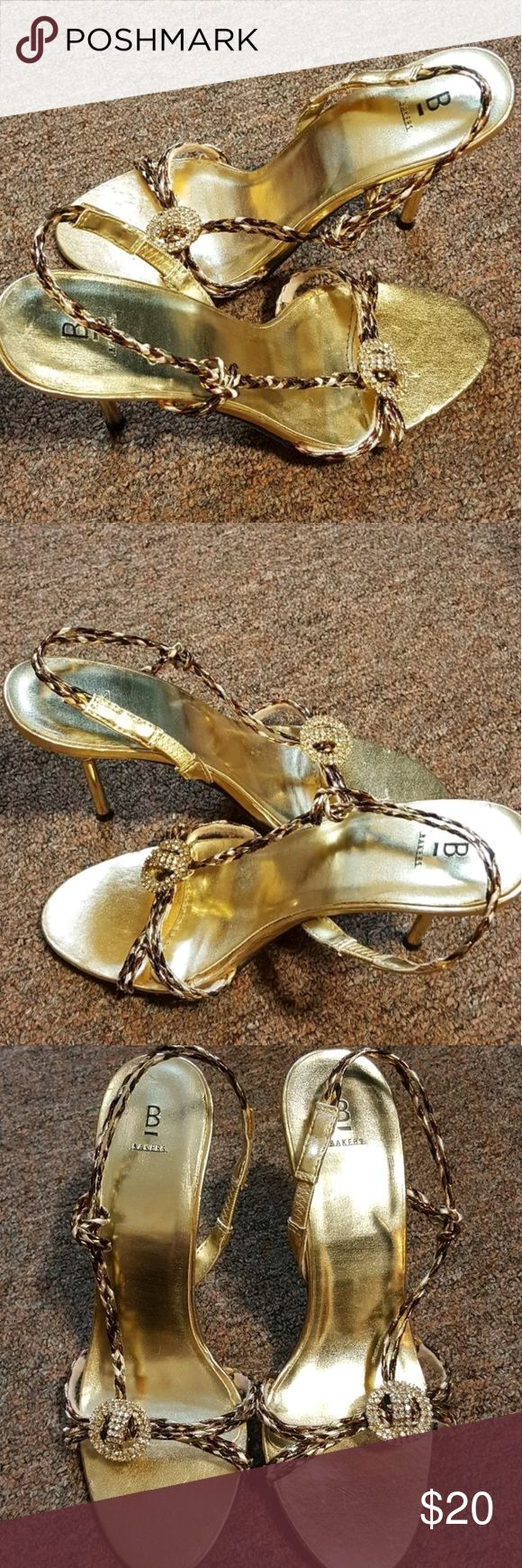 BAKERS Metallic Strappy Heel Sandal BLING Bakers metallic braided strappy sandal heels.  Size 7.5  These shoes are embellished with a rhinestone pendant across the top of the straps.  Heel is gold and has a blingy rhinestone detail.  Very little wear on these shoes however , the insole / instep is slightly loose on one shoe. Bakers Shoes