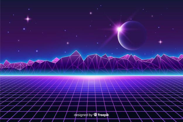 Download Retro Futuristic Landscape Of Universe Background For Free Futuristic Landscape Vaporwave Wallpaper Background Landscape Wallpaper full hd 1920x1080 vintage