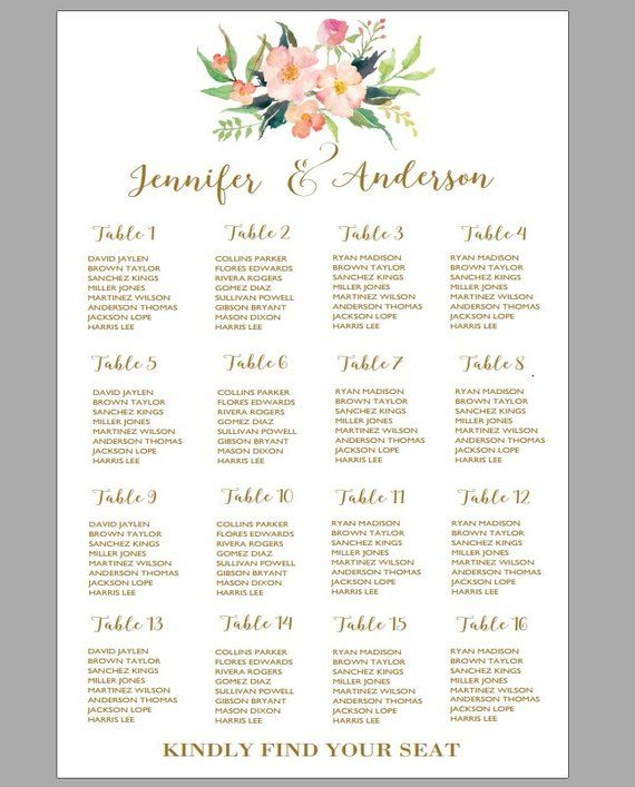 printable wedding seating chart template boho wedding table seating assignment  table plans