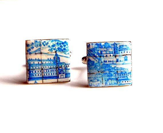 Portugal Antique Azulejo Tile Replica Cufflinks Great by Atrio,