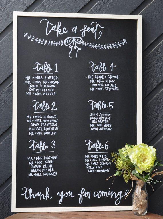 Gorgeous Wedding Escort Card Ideas to Lead the Way -  via Etsy Chalk full of Love