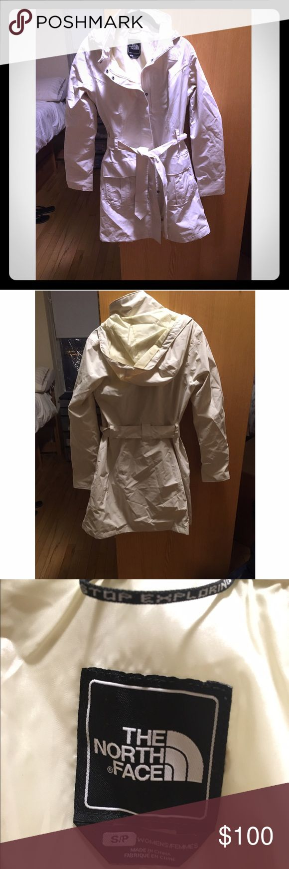 The North Face Women's rain trench coat The North Face Women's rain trench coat size small cream color. Waterproof, belted tie, pockets, longer length.  Worn less than 10 times, too big for me. Very nice coat. The North Face Jackets & Coats Trench Coats