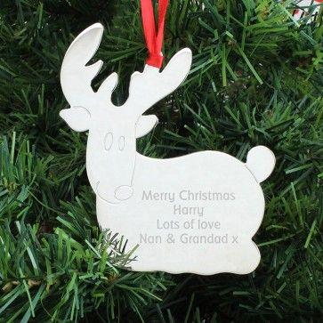 reindeer bauble http://www.personalise.co.uk/engraved-reindeer-decoration #reindeer