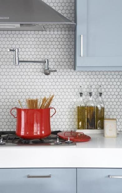 hex tile backsplash - fun alternative to subways. Inspiration for Sandra and Justin's Kitchen