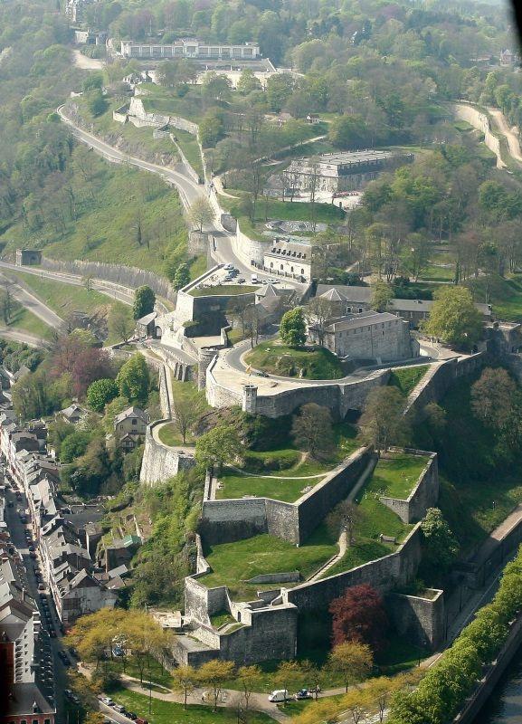 The Citadel of Namur viewed from the sky, Wallonia region, BELGIUM - Citadelle de Namur, à découvrir lors de votre séjour à la Grange d'Ychippe (gîte et chambre d'hôtes à proximité de Leignon, Ciney, Chevetogne, Rochefort, Dinant, Ardenne, Wallonie,Belgique) http://www.lagiterie-ychippe.be