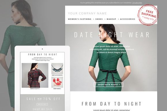 Fashion E-mail Newsletter Template by JannaLynnCreative on Creative Market