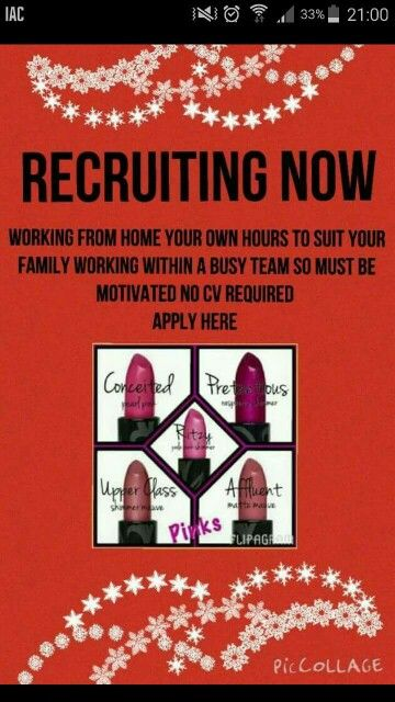 Recruiting! Try this business for three months if you don't like it then refund guaranteed  or keep the £130 worth of makeup! £69 is all it costs to join. No hidden costs free website for life  www.youniqueproducts.com/beautifulmakeupglobal