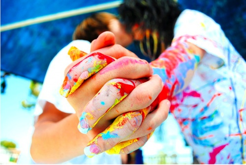 paint fight... distraction