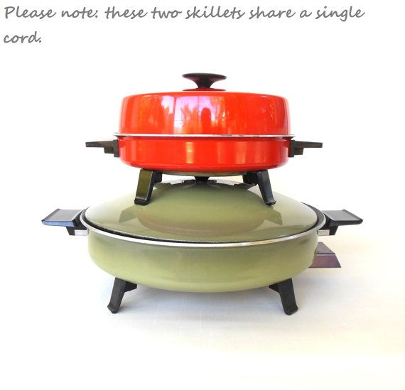 West Bend Electric Skillets Avocado Green Orange Red 1970s Kitchen  Appliances