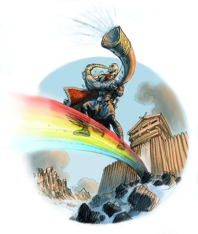 Heimdall eller Hejmdal (norrønt: Heimdallr) er en af de mest gådefulde guder i den nordiske mytologi. Han har en fantastisk hørelse, og optræder af den grund i myterne som gudernes vagtmand, der sidder ved enden af Bifrost og overvåger, at ingen jætter sniger sig ind i Asgård. Ved Ragnarok blæser han i Gjallarhornet, når jætterne angriber, så resten af guderne og einherjerne kan forberede sig til kampen. I det sidste slag skal han kæmpe mod Loke.(Tegnet af Christian Højgaard)
