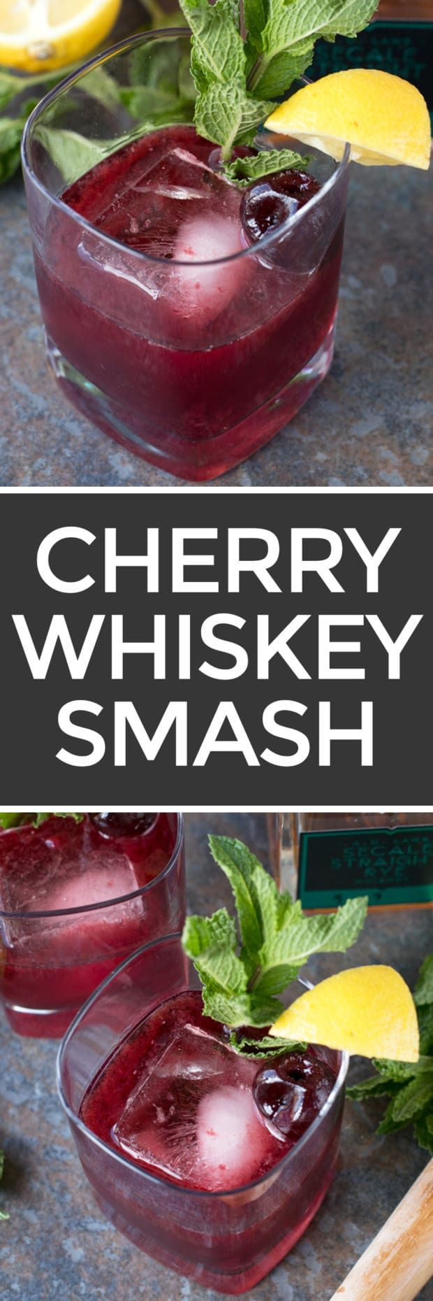 I've got your new favorite ladies night cocktail right here, gals! A Cherry Whiskey Smash is the fresh and fruity, spirit-forward cocktail your summer sippin' agenda is begging for. Cherry Whiskey Smash | cakenknife.com #cocktail