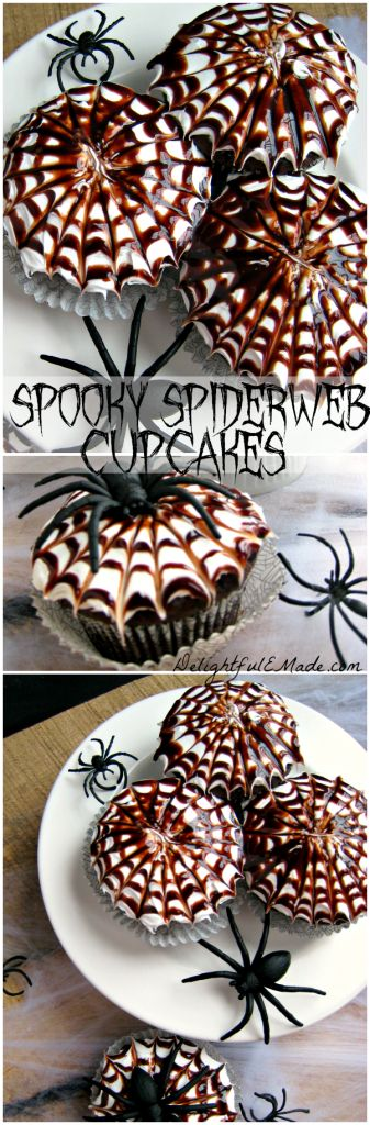 """Moist chocolate cupcakes are topped with a vanilla frosting and chocolate swirl spiderwebs, making these cupcakes """"Spooktacular!"""""""