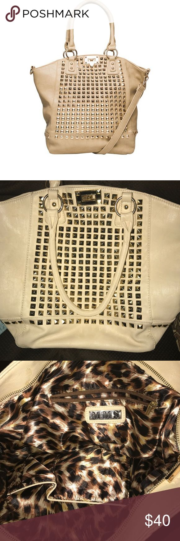 MMS gold studded tote Tan with gold studs. Lots of pockets. Purchased from Buckle. Long strap not included. Hardly used, in great condition! Buckle Bags Totes