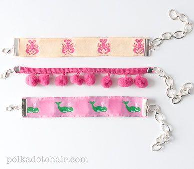 Pretty Preppy Bracelets from cute grosgrain ribbon
