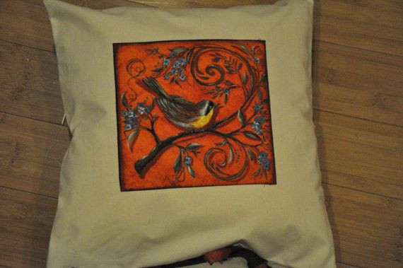 Cream pillow with bird applique. Decorative throw by MooKieBmakes