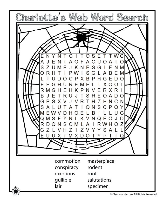 Charlotte's Web Activities and Lesson Plan Word Search - Vocabulary Words for Charlotte's Web – Classroom Jr.