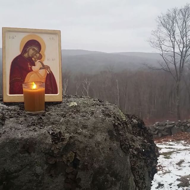 Celebrating Our Lady amongst the beauty of the mountains, on a favorite rock in the wilderness... (Icon by the hand of Gabriel Tomas) #mary #icon #iconography #nature #artinspiration #art #candles #beauty  #prayer #catholic #catholicicons #catholicicon #orthodoxicon #orthodoxicons #orthodox #catholicart #orthodoxart #memorare #maryqueenofheaven