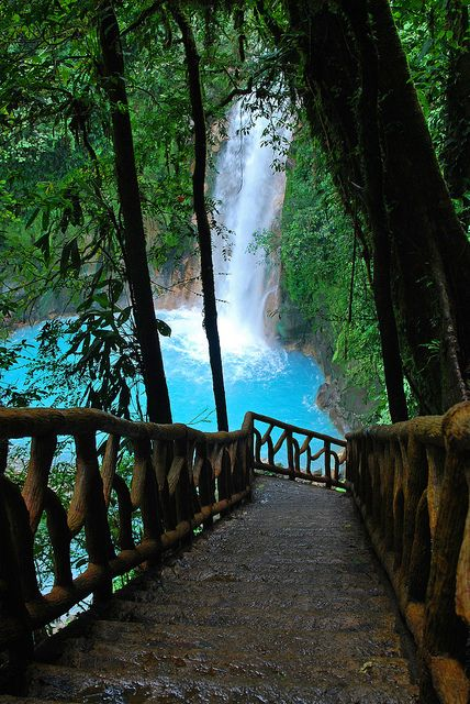 Rio Celeste Waterfall with the blue waters, Costa Rica