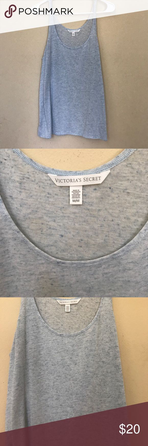 Heathered Victoria's Secret Sport Tank Top Light blue heathered VS Sport by Victoria's Secret. Long scoop neck tank top perfect for yoga, barre, Pilates. Racer back style with a flowy bottom. Brand new without tags Victoria's Secret Tops Tank Tops