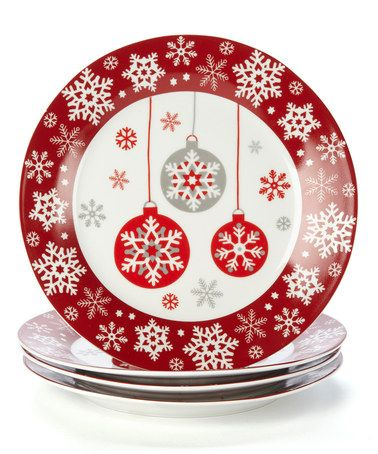 Ornament Plate - Set of Four #zulilyfinds  sc 1 st  Pinterest & 173 best Christmas dinnerware sets images on Pinterest | Christmas ...