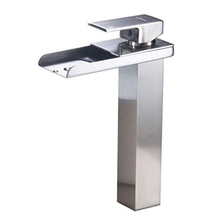 BWE Waterfall Bathroom Sink Vessel Faucet Open Channel Lavatory Mixer Tap  Long Bath Spout Brushed Nickel