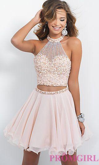Two Pieces Homcoming Dresses, bodice pearl Zipper Fleabane Chiffon Homcoming Dresses, For Teens Short Prom Dresses, Mini Dresses