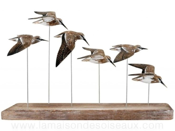 deco bord de mer 6 becasseaux en vol sculptures oiseaux. Black Bedroom Furniture Sets. Home Design Ideas