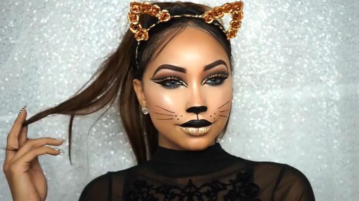 Melly Sanchez Glam Cat #makeup #mellysanchez #halloween #catmakeup #halloweenmakeup #cutcrease