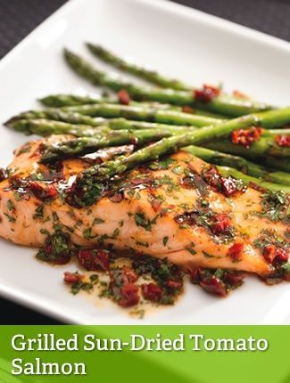 """GRILLED SUN-DRIED TOMATO SALMON {LEAN}==INGREDIENTS== 6 oz raw salmon, 1-½c (18 medium 5-¼"""" to 7"""" spears) asparagus (1-¼ lb), ¼c fresh parsley, 2T Newman's Own® Lighten Up Sun Dried Tomato Dressing, ½T (1 piece) sun-dried tomatoes packed in oil, Dash of salt and/or pepper (opt)      ========="""