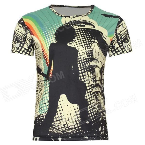 LaoNongZhuang Rocker Pattern Artificial Fiber Short Sleeve Men's T-Shirt - Yellow (XXXL)