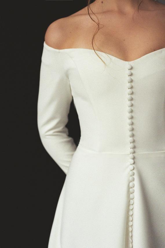 e1bf7af11907b Modern off-shoulder wedding dress with a split Off-the-shoulder long ...