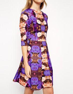 Enlarge ASOS Digital Mirror Floral Skater Dress