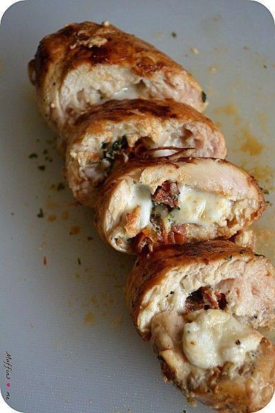 Roulés de poulet mozza, tomates séchées & basilic
