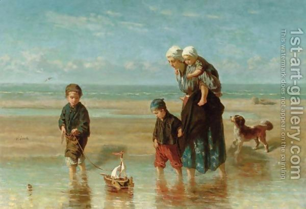 Mother And Children By The Shore by Jozef Israels