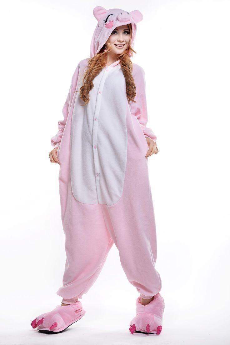 Adult pink pig onesie plus size animal footed pajamas