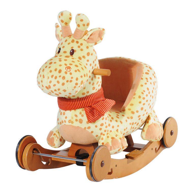 kids ride on plush giraffe rocker infant dual use rocking horse solid wood wheel wood gifts. Black Bedroom Furniture Sets. Home Design Ideas