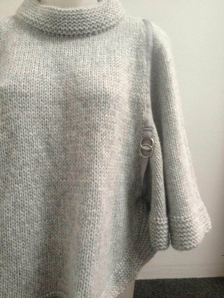 Ladies Grey Wool Chunky Knit Poncho, Medium - Now Selling! Click through to go to eBay auction.
