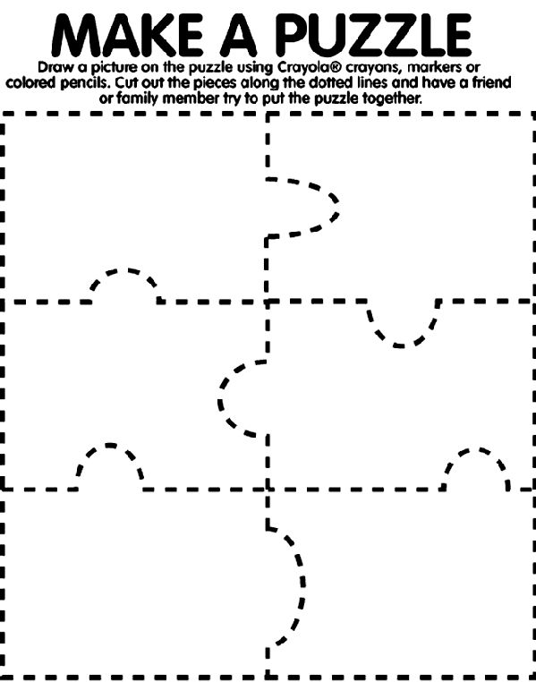 Make A Puzzle coloring page- Crayola has some fun stuff!