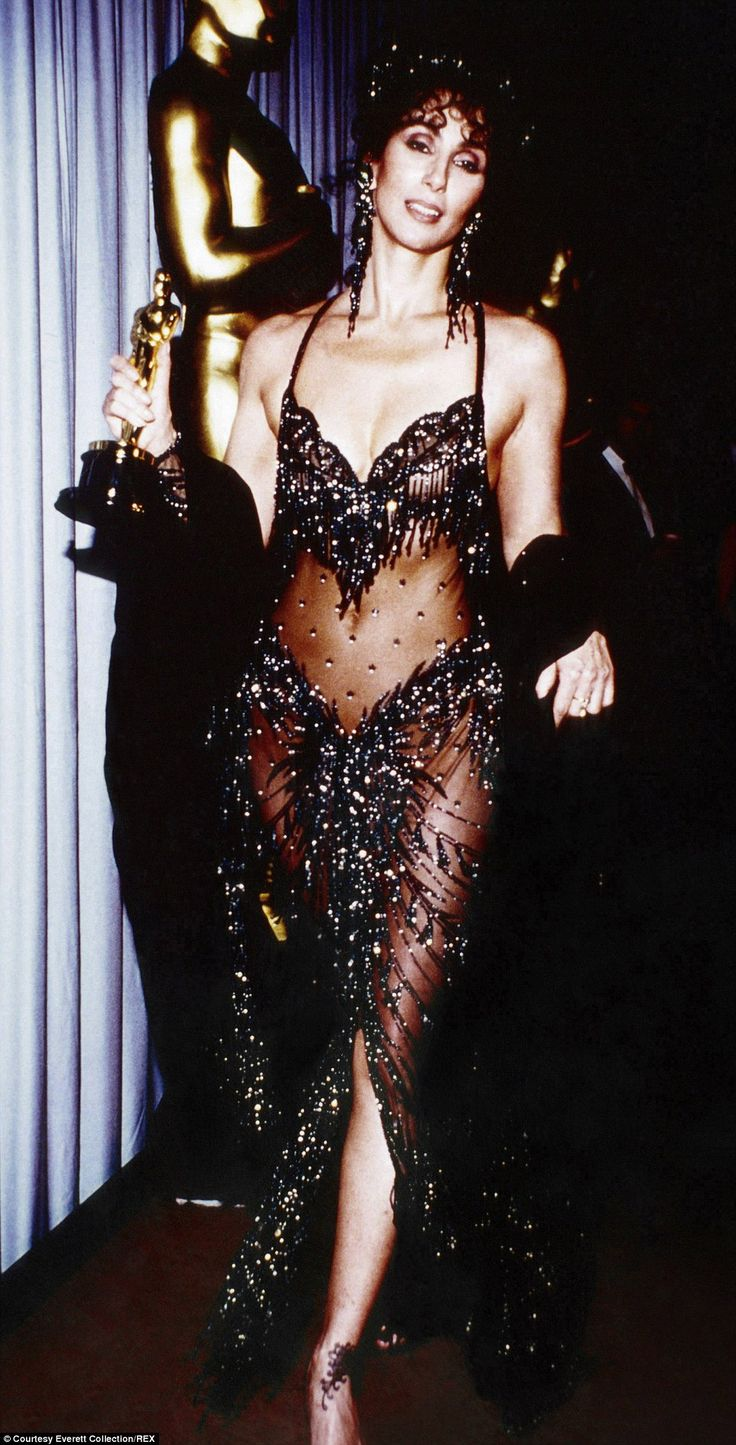 Cher's transparent, beaded black Bob Mackie dress in 1988 to collect her Moonstruck best actress award.