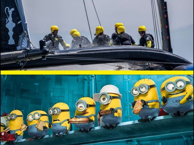 Artemis Racing America Cup team look like Despicable Me Minions!!!