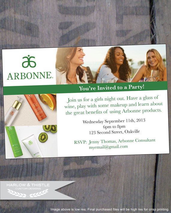 INSTANT DOWNLOAD printable Arbonne Party Invitation - Reusable - by HarlowAndThistle, $10.00