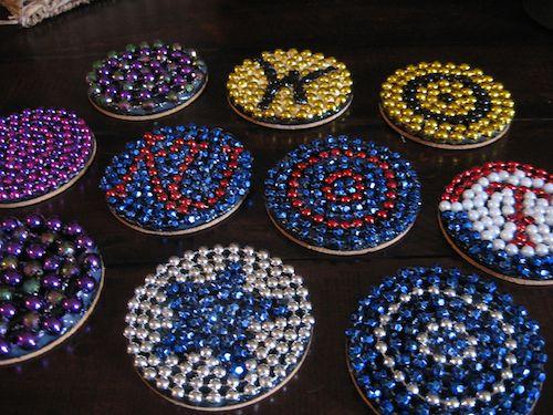 Coasters made with Mardi Gras beads