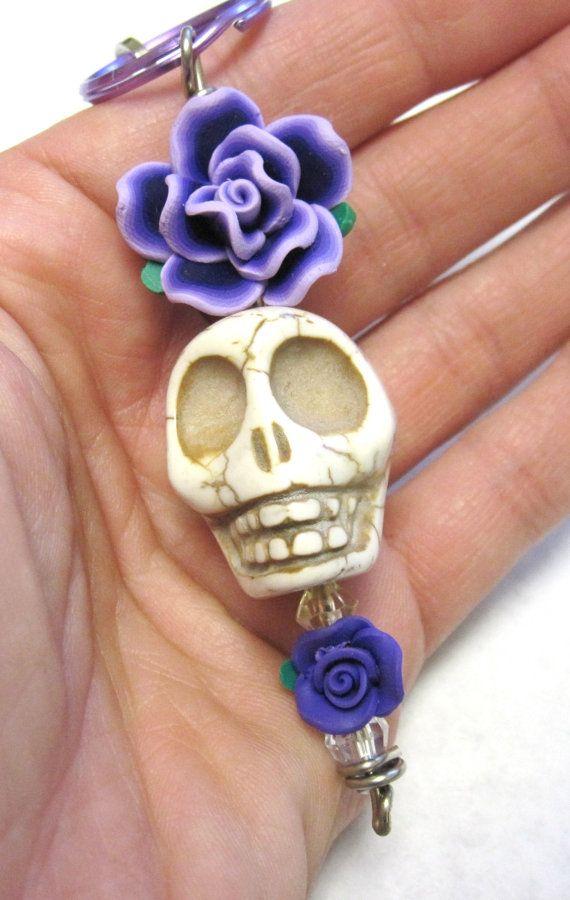 Skull Jewelry GIANT Sugar Skull & Rose Key by sweetie2sweetie, $8.99